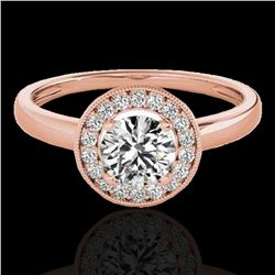 1.15 ctw Certified Diamond Solitaire Halo Ring 10k Rose Gold - REF-184F3M