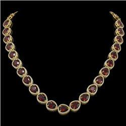 36.8 ctw Garnet & Diamond Micro Pave Halo Necklace 10k Yellow Gold - REF-592H9R