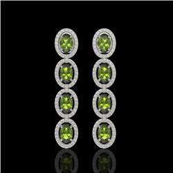 5.88 ctw Tourmaline & Diamond Micro Pave Halo Earrings 10k White Gold - REF-143R6K