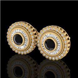 2.61 ctw Fancy Black Diamond Art Deco Stud Earrings 18k Yellow Gold - REF-236W4H