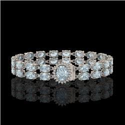 14.44 ctw Aquamarine & Diamond Bracelet 14K White Gold - REF-263G6W