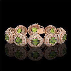 44.22 ctw Tourmaline & Diamond Victorian Bracelet 14K Rose Gold - REF-1342H4R