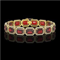 33.41 ctw Garnet & Diamond Micro Pave Halo Bracelet 10k Yellow Gold - REF-318N2F