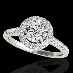 1.5 ctw Certified Diamond Solitaire Halo Ring 10k White Gold - REF-177Y3X