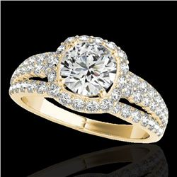 2.25 ctw Certified Diamond Solitaire Halo Ring 10k Yellow Gold - REF-237H3R