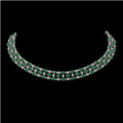63.65 ctw Emerald & Diamond Necklace 10K White Gold - REF-709F3M