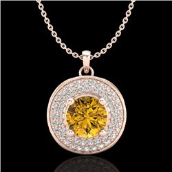 1.25 ctw Intense Fancy Yellow Diamond Art Deco Necklace 18k Rose Gold - REF-161A8N