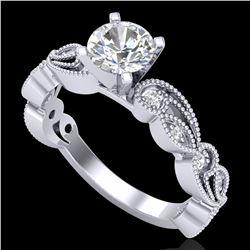 1.01 ctw VS/SI Diamond Solitaire Art Deco Ring 18k White Gold - REF-218N2F