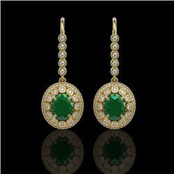 9.25 ctw Certified Emerald & Diamond Victorian Earrings 14K Yellow Gold - REF-256R2K