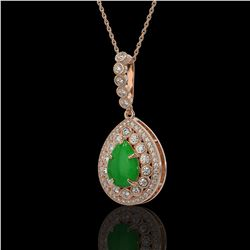 4.07 ctw Jade & Diamond Victorian Necklace 14K Rose Gold - REF-118F2M