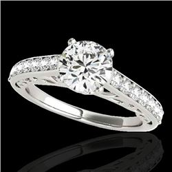 1.4 ctw Certified Diamond Solitaire Ring 10k White Gold - REF-190H9R