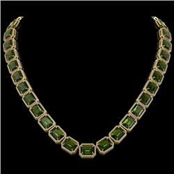 80.65 ctw Tourmaline & Diamond Micro Pave Halo Necklace 10k Yellow Gold - REF-1163R6K