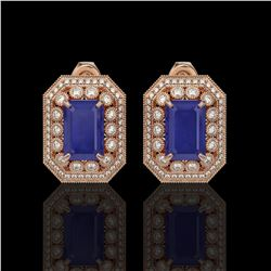 13.75 ctw Sapphire & Diamond Victorian Earrings 14K Rose Gold - REF-266K4Y