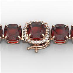 35 ctw Garnet & Micro Pave VS/SI Diamond Bracelet 14k Rose Gold - REF-134K2Y