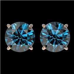 3.15 ctw Certified Intense Blue Diamond Stud Earrings 10k Rose Gold - REF-355F9M