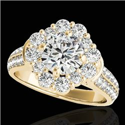 2.16 ctw Certified Diamond Solitaire Halo Ring 10k Yellow Gold - REF-229G3W