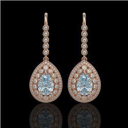 7.56 ctw Aquamarine & Diamond Victorian Earrings 14K Rose Gold - REF-310N4F