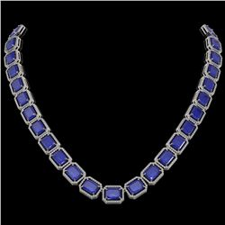 84.94 ctw Sapphire & Diamond Micro Pave Halo Necklace 10k White Gold - REF-859M5G