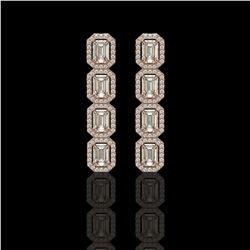 5.33 ctw Emerald Cut Diamond Micro Pave Earrings 18K Rose Gold - REF-804X5A