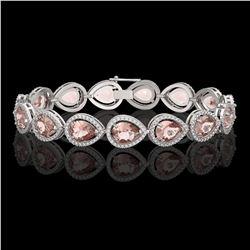 19.55 ctw Morganite & Diamond Micro Pave Halo Bracelet 10k White Gold - REF-480H4R