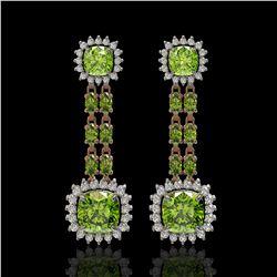19.88 ctw Peridot & Diamond Earrings 14K Rose Gold - REF-290W9H