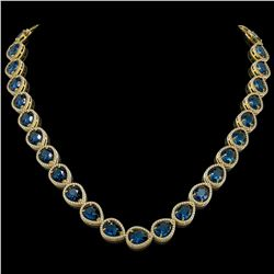 44.8 ctw London Topaz & Diamond Micro Pave Halo Necklace 10k Yellow Gold - REF-625A3N