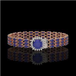31.91 ctw Sapphire & Diamond Bracelet 14K Rose Gold - REF-289H3R