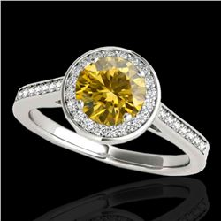 1.33 ctw Certified SI/I Fancy Intense Yellow Diamond Ring 10k White Gold - REF-190H9R