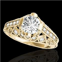 1.25 ctw Certified Diamond Solitaire Antique Ring 10k Yellow Gold - REF-184R3K