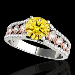 1.45 ctw Certified SI Intense Yellow Diamond Solitaire Ring 10k 2Tone Gold - REF-204R5K