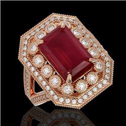 7.11 ctw Certified Ruby & Diamond Victorian Ring 14K Rose Gold - REF-171N5F