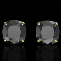 12 ctw Cushion Black Diamond Designer Earrings 18k Yellow Gold - REF-290A9N