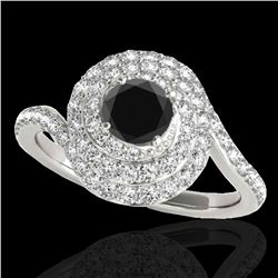 2.11 ctw Certified VS Black Diamond Solitaire Halo Ring 10k White Gold - REF-72G8W