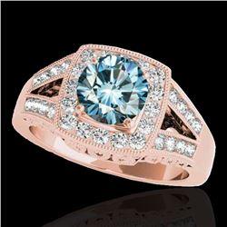 1.65 ctw SI Certified Fancy Blue Diamond Halo Ring 10k Rose Gold - REF-175R2K