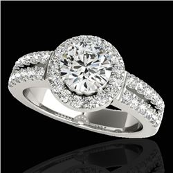 1.5 ctw Certified Diamond Solitaire Halo Ring 10k White Gold - REF-218R2K