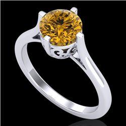1.25 ctw Intense Fancy Yellow Diamond Art Deco Ring 18k White Gold - REF-345W5H