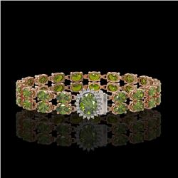 26.92 ctw Tourmaline & Diamond Bracelet 14K Rose Gold - REF-336G4W