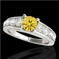 3.05 ctw Certified SI/I Fancy Intense Yellow Diamond Ring 10k White Gold - REF-436K4Y
