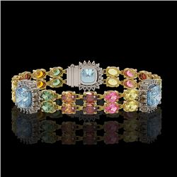 20.67 ctw Sapphire & Diamond Bracelet 14K Yellow Gold - REF-289G5W