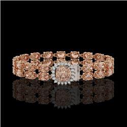 16.93 ctw Morganite & Diamond Bracelet 14K Rose Gold - REF-245A5N