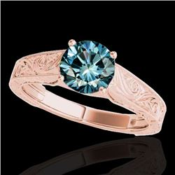 1 ctw SI Certified Fancy Blue Diamond Solitaire Ring 10k Rose Gold - REF-114N5F
