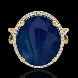 12 ctw Sapphire & Micro Pave VS/SI Diamond Ring 18k Yellow Gold - REF-143Y6X