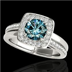 1.33 ctw SI Certified Fancy Blue Diamond Halo Ring 10k White Gold - REF-163X6A
