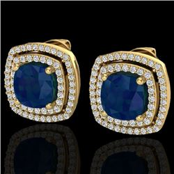 4.95 ctw Sapphire & Micro Pave VS/SI Diamond Earrings 18k Yellow Gold - REF-125H5R