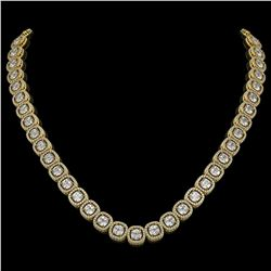 32.64 ctw Cushion Cut Diamond Micro Pave Necklace 18K Yellow Gold - REF-4475Y8X