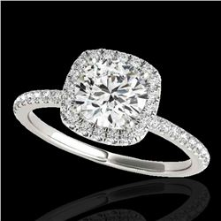 1.25 ctw Certified Diamond Solitaire Halo Ring 10k White Gold - REF-177M3G