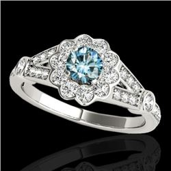 1.9 ctw SI Certified Fancy Blue Diamond Solitaire Halo Ring 10k White Gold - REF-170R5K