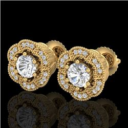 1.51 ctw VS/SI Diamond Solitaire Art Deco Stud Earrings 18k Yellow Gold - REF-263Y6X