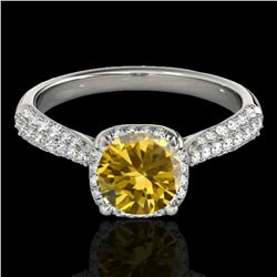 1.50 ctw Certified SI/I Fancy Intense Yellow Diamond Ring 10k White Gold - REF-204W5H