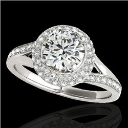 1.6 ctw Certified Diamond Solitaire Halo Ring 10k White Gold - REF-204N5F